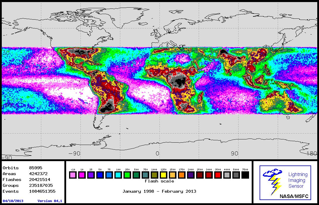 Global Lightning Image  sc 1 st  Lightning - NASA & GHRC: LIS/OTD Gridded Lightning Climatology Data Sets