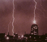 Lightning hits buildings