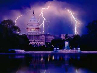 Image Of Nations Capital With Lightning In Background